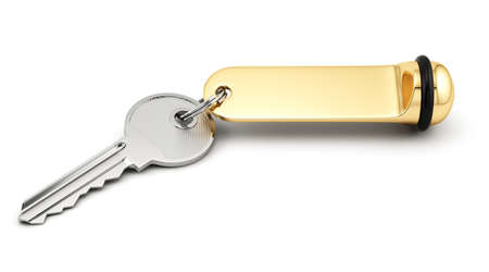 rende: 3d rende of hotel room key with golden lable. Isolated on white background