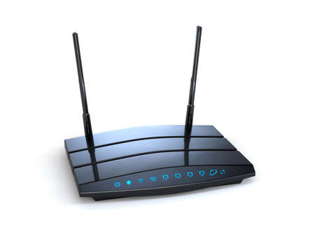 high speed internet: 3d modern wireless wi-fi black router with two antennas and blue indicators isolated on white background. High speed internet connection, firewall computer network and telecommunication technology concept