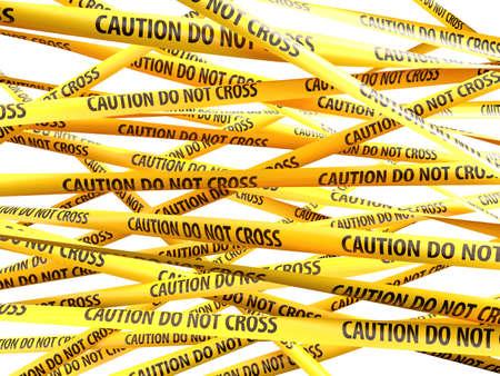 Danger Caution Do Not Cross yellow ribbons over white background. 3d illustration