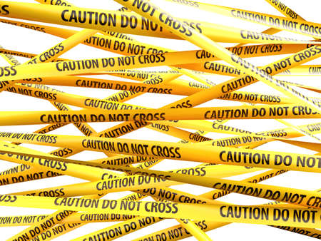 Danger Caution Do Not Cross yellow ribbons over white background. 3d illustration