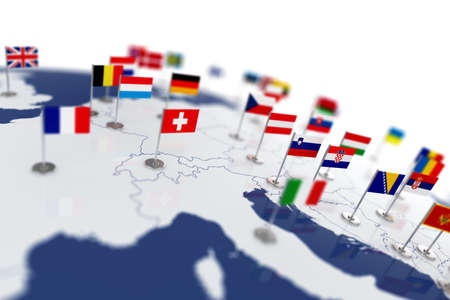 england politics: Europe map with countries flags. Shalow focus 3d illustration isolated on white background