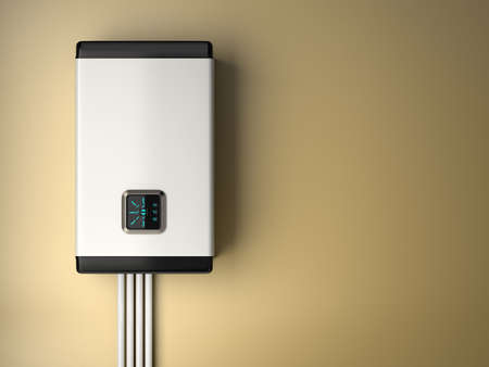3d rendering of white electric boiler with smart control on the  wall. Energy saving concept 스톡 콘텐츠