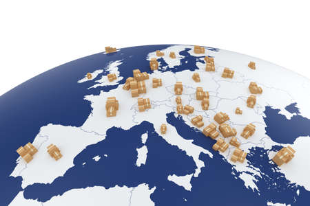 Cargo delivery transportation cardboard boxes on the Europe map - global shipment 3d concept isolatesd on white background