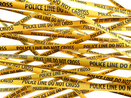 police tape: Crime Police Line Do Not Cross yellow ribbons over white background. 3d illustration