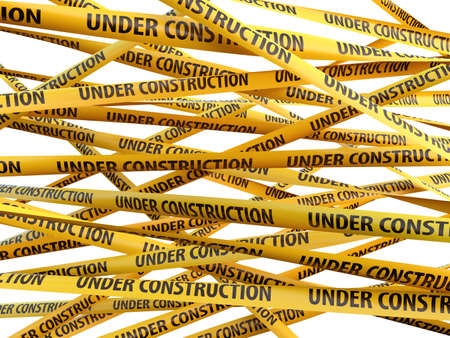alert ribbon: Under construction yellow ribbons over white background. 3d illustration Stock Photo
