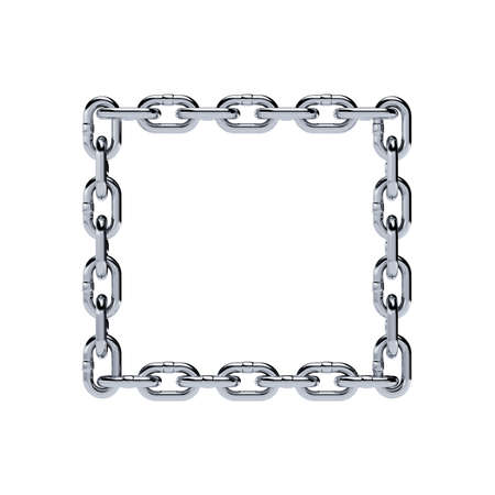 heavy metal: Chain chrome metal frame rectangle shape isolated on white background