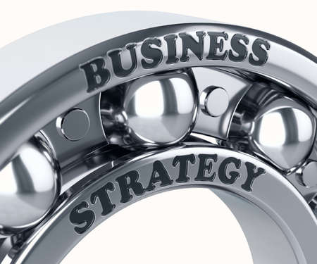 bearing: Business Strategy on the Metal bearing ball isolated Stock Photo