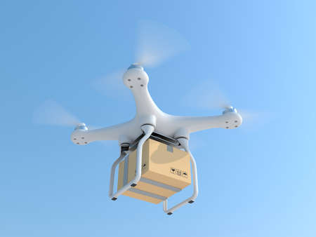 Drone quadcopter carrying mail box for fast air delivery Archivio Fotografico