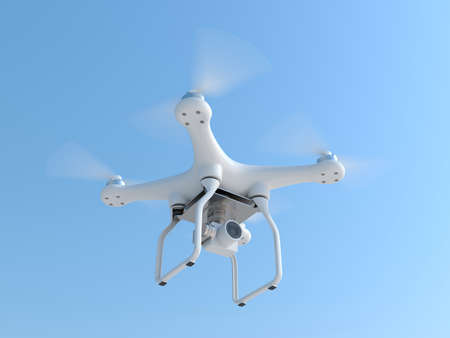 unmanned: Drone unmanned aerial vehicle quadcopter taking photography and video with wireless radio remote control