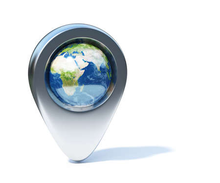 pointer: 3d illustration of chrome navigation marker with Earth planet in the center. Isolated on white with shadow. Elements of this image furnished Stock Photo