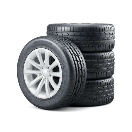pneumatic tyres: 3d rendering of new unused car tires with rims isolated on white background