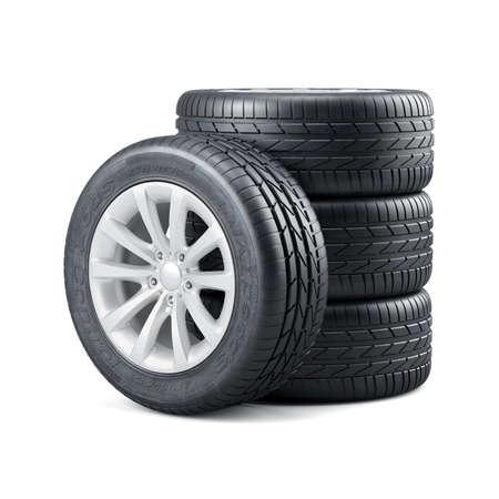 representación 3D de los nuevos neumáticos de coche con llantas no utilizados aislados en el fondo blanco Foto de archivo