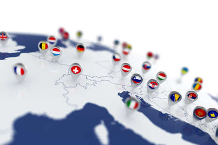 3d render of Europe map with countries flags location pins
