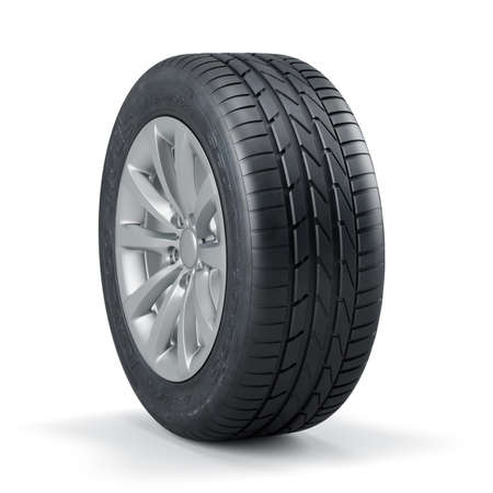 3d rendering of a single new unused car tire with rim isolated on white background