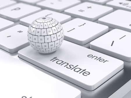 3d rendent d'internet mondiale traduire différentes langues et communication créative technologie Internet de PC et web télécommunications concept informatique d'entreprise. Vue de cubes de traduction de groupe sous la forme de sphère sur le clavier de l'ordinateur