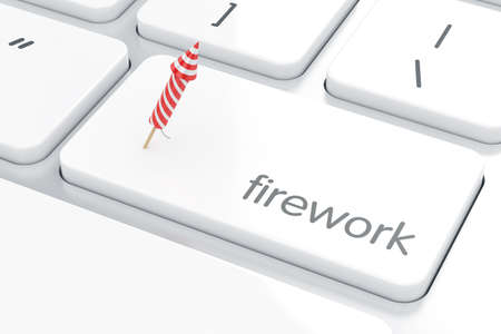 computer button: Computer white keyboard with firework rocket concept on enter button. Holiday concept 3d rendering