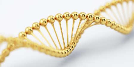 ソフト フォーカスで DNA 黄金構造モデル。科学医学研究のコンセプトです。3 d レンダリング