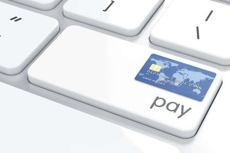 money online: Credit card on the computer keyboard. Pay now computer button concept. 3d rendering Stock Photo