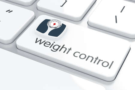 computer button: Computer keyboard white button with bathroom scales. Weight control concept.  3d rendering