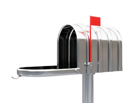 await: 3d illustration of opened chrome metal empty mailbox isolated on white background