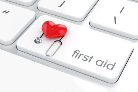 keyboard: 3d render of first aid concept red heart and stethoscope on the white computer keyboard enter button. Computer support concept
