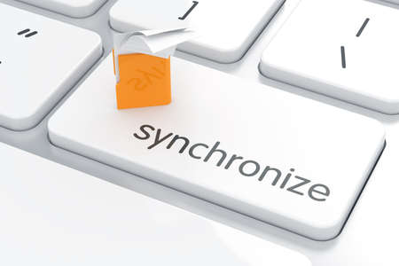 synchronizing: 3d illustration of synchronization documents yellow computer folder concept on the computer keyboard Stock Photo