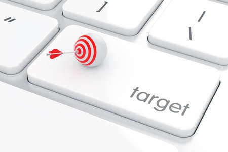 computer button: Computer keyboard white button with target goal sphere and arrow. Goal concept. 3d rendering