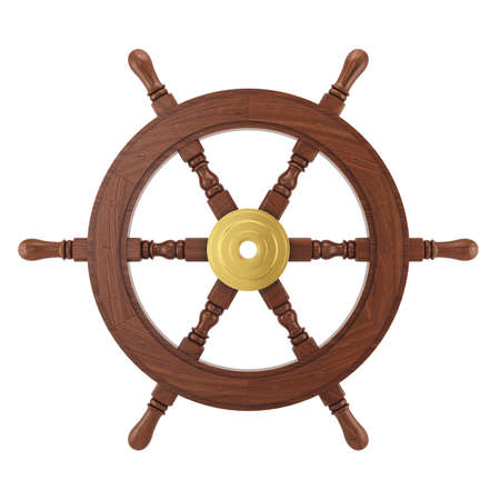 handles: Wooden steering wheel for ship isolated on white background. 3d ships wheel rendering