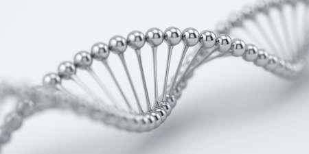 ソフト フォーカスで DNA クローム銀構造モデル。科学医学研究のコンセプトです。3 d レンダリング