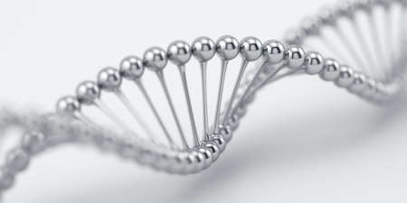 DNA chrome silver structure model with soft focus. Science medical research concept. 3d rendering