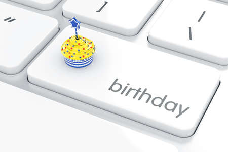 computer button: Computer keyboard with cake on enter button. 3d rendering of birthday button Stock Photo