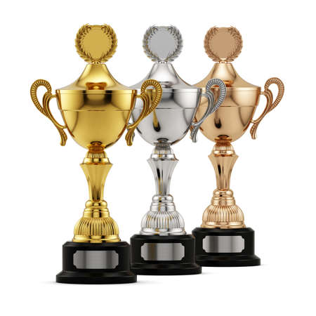 gold silver: Winning success gold, silver and bronze cups award isolated on white background. Championship competition and tournament concept. 3d rendering Stock Photo