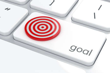 computer button: Computer keyboard white button with target goal board. Goal concept.  3d rendering Stock Photo