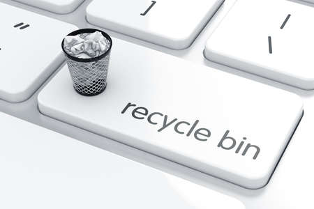 wastepaper basket: Computer keyboard white button with trash can. Recycle bin concept.  3d rendering