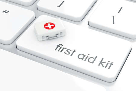 first aid kit key: 3d render of first aid kit on the white computer keyboard enter button. Computer support concept