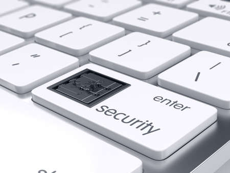financial security: Computer keyboard with bank safe metal door on Enter key. 3d rendering. Computer and financial security concept