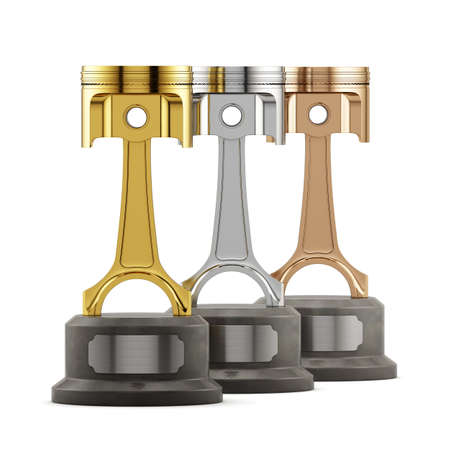 pistons: Winning success gold, silver and bronze pistons cup award isolated on white background. Championship competition and tournament race cars concept. 3d rendering Stock Photo