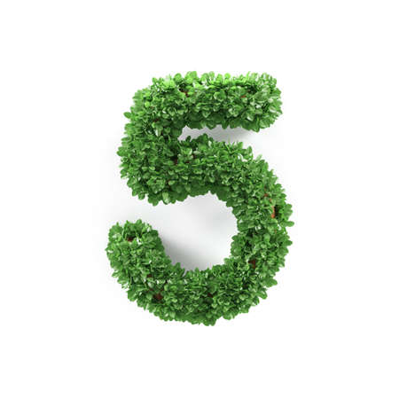 ecology background: Green leaves 5 five ecology digits alphabet font isolated on white background. 3d rendering Stock Photo