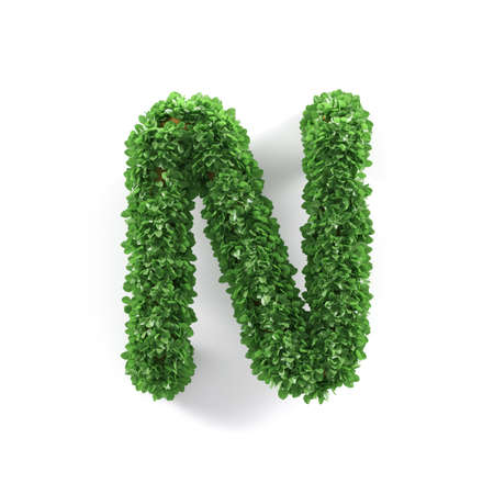 ecology background: Green leaves N ecology letter alphabet font isolated on white background. 3d rendering Stock Photo
