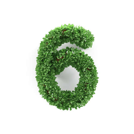 ecology background: Green leaves 6 six ecology digits alphabet font isolated on white background. 3d rendering