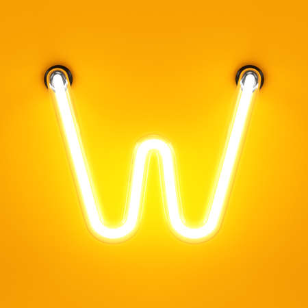tubos fluorescentes: Neón alfabeto luz W fuente de caracteres. letras de tubos luminosos de neón efecto sobre fondo naranja. Las 3D