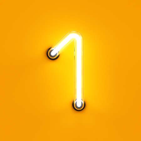 Neon light digit alphabet character 1 one font. Neon tube letter glow effect on orange background. 3d rendering