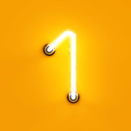 Neon light digit alphabet character 1 one font. Neon tube letter glow effect on orange background. 3d rendering