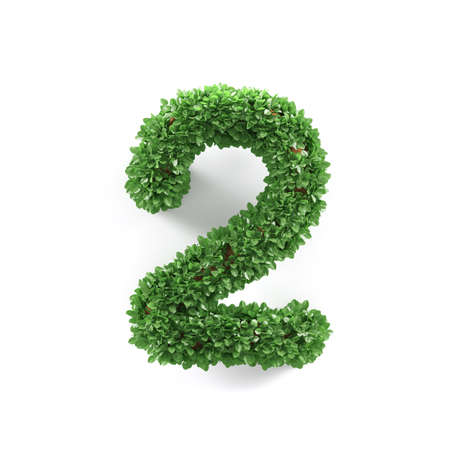 ecology background: Green leaves 2 two ecology digits alphabet font isolated on white background. 3d rendering