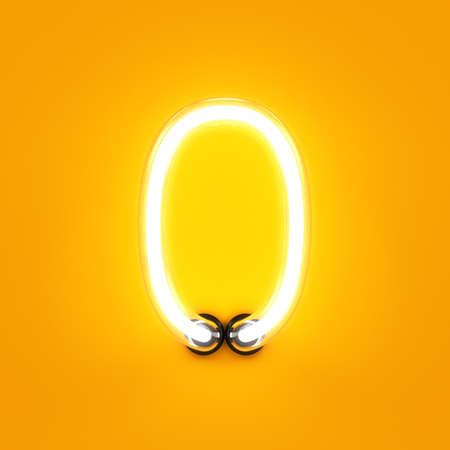 ネオンの光桁アルファベット文字 0 ゼロのフォント。ネオン管文字グロー効果オレンジ色の背景で。3 d レンダリング