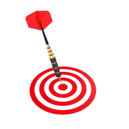 Dart hitting the center aim mark on target. Successful shoot. 3d rendering isolated illustration