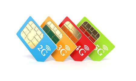 3g: Set of color SIM cards with 2g, 3g, 4g, 5g technology icon isolated on white background. 3d rendering illustration Stock Photo