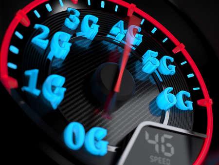 Wireless network speed concept, speedometer 4G evolution. 3d rendering Foto de archivo