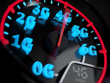 Wireless network speed concept, speedometer 4G evolution. 3d rendering Archivio Fotografico