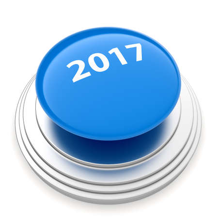 next year: 3d render of 2017 New Year blue push button isolated on white background